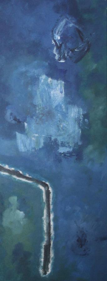 Blue Trio 3 07 acryl op doek 30x80 cm