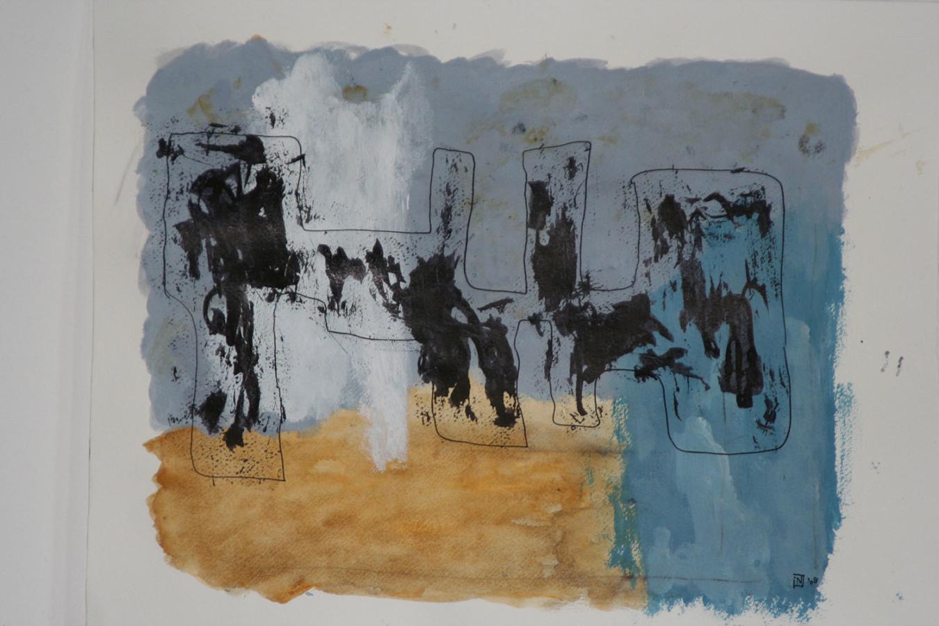 Medeandra 08 Acryl en inkt op linnenpapier