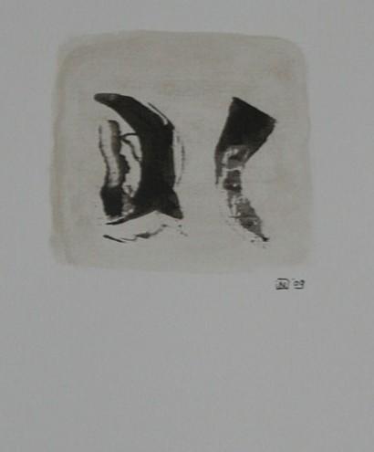 Shi Mitru 09 Gemengde techniek op linnenpapier 33x43cm incl lijst