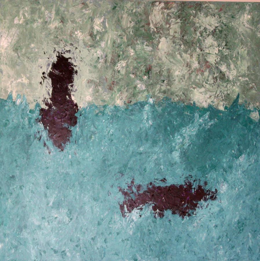 Two footsteps on the sea 06 acryl op doek 80 x80-cm